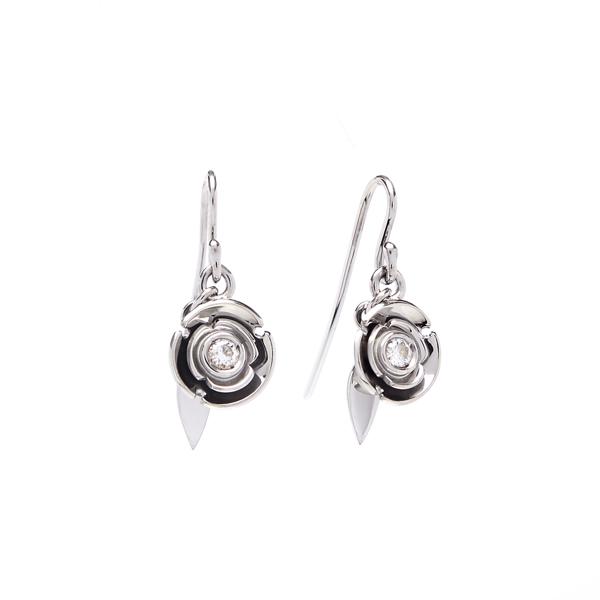 earrings: white diamond snow blossom earrings: lge_0064