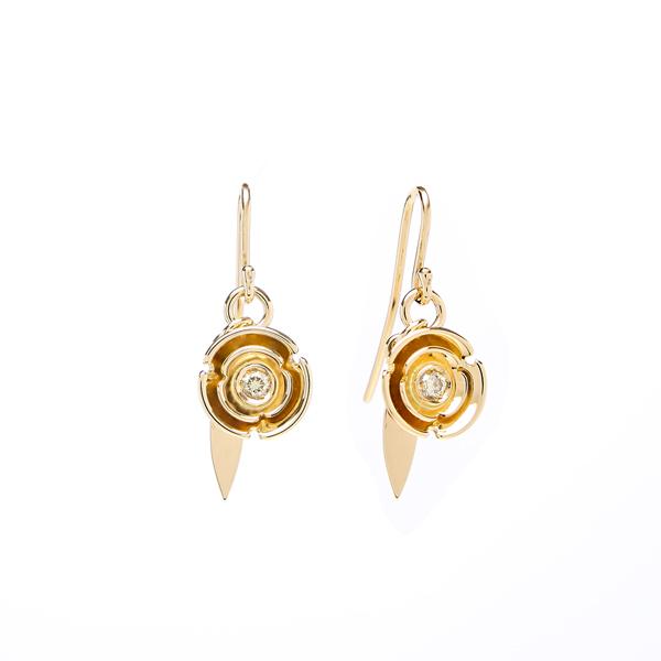 earrings: yellow diamond sun blossom earrings : lge_0075