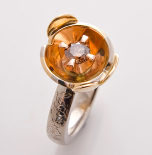 orange blossom ring with heart leaf lge5054